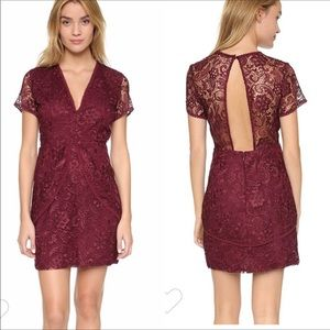 Wayf Small Burgundy Lace Dress